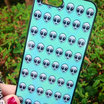 Iphone 5 5S Phone Case Emoji Alien Face Print Hipster Phone Cover
