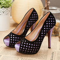 Hollow Out Peep Toe Pumps for Women GBN