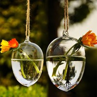 Unique Design Hanging Drop Round Egg Crystal Glass Clear Flower Vase Hydropo...