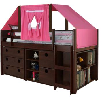 Remi Loft Bed with Storage and Pink Fort