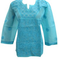 Womans Indian Kurta Turquoise Embroidered Cotton Boho Blouse Tops M