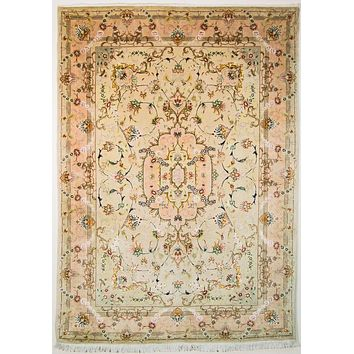 Oriental Persian Super Tabriz Natural Wool and Silk Rug, Cream/Pink
