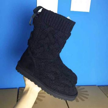 LFMON UGG 1008840 Knitted Women Fashion Casual Wool Winter Snow Boots Black