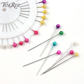 FENGRISE 480ps Multi Round Pearl Head Dressmaking Pins Weddings Corsage Florists Sewing Tool Mini Ball Handmade Crafts Accessory
