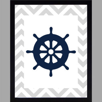 Nautical Nursery Decor Baby Boy Wheel, Gray and Navy, Art, CUSTOMIZE YOUR COLORS 8x10 Prints Nursery Decor Print Art Baby Room Decor Kids