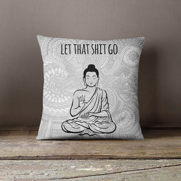 Buddha Pillowcase Meditation Yoga Decorative Throw Pillow Cover Cushion Case Designer Pillow Case Birthday Gift Idea For Him Her Home Decor