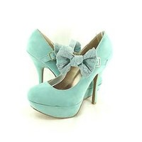 Women's Shoes Qupid Onyx 74 Lace Bow Mary Jane Platform Stilettos Mint *New*