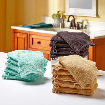 Set of 6 Wash Mitts Cotton Terry Fabric Loop Shower Bath Cloth