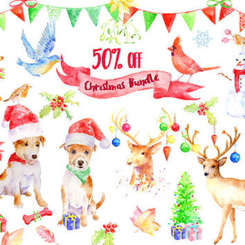 Watercolor Clipart, Christmas Bundle, sale, 50% off, massive savining, Christmas Decorations, instant download, greeting cards, art prints