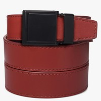 Red Leather Belt with Square Buckle