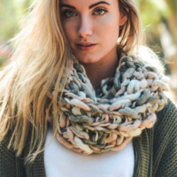 Ultra-Soft Pink Multi-Colored Snood Infinity Scarf