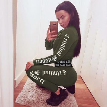 Women Tracksuit Army Green Letter Printed Crop Top And Legging Pants 2 Piece Set 2018 Fashion Female Cotton Long Sleeve Fitness Wear