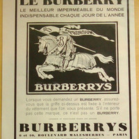 Art Deco Vintage French Ad for Burberry   1929