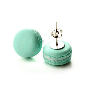 French Macarons Stud Earrings - Small Ear Studs - Earrings Post - Food Jewelry - Mint color