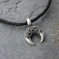 Antiqued Silver Pewter Crescent with Eye Pendant Necklace, Black Braided Leather - For men & women - free USA shipping