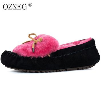 Genuine leather Female winter warm red purple Colorful pigskin with lined real wool fur Moccasins bow shoes women ug Eskimo mini
