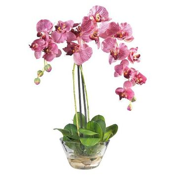 Nearly Natural Phalaenopsis w/Glass Vase Silk Flower Arrangement