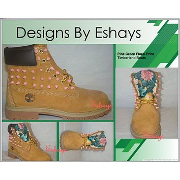 Custom Spiked Timberland Green Tropical Floral Boots