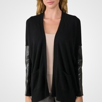 Black Cashmere Dolman Cardigan Tunic Sweater