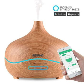 ONETOW Essential Oil Diffuser, WiFi Smart Humidifier Compatible with Alexa APP, RENPHO 300ml Wood Grain Ultrasonic Aromatherapy Diffuser for Home Office Baby, Adjustable Cool Mist, Waterless Auto Shut-off