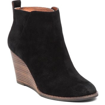 Lucky Brand Yezzah Black Oiled Suede Wedge Booties