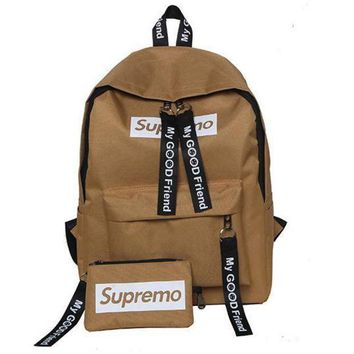 CREYUP0 Supreme Canvas Casual Sport School Shoulder Bag Satchel Laptop Bookbag Backpack Clutch Bag Wristlet Purse Two-Piece-2