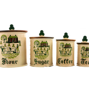 Metlox POPPYTRAIL Canister Set Vintage Homestead Provincial Rustic Farmhouse Country Primitive Kitchen Decor Collectible Ceramic Canisters