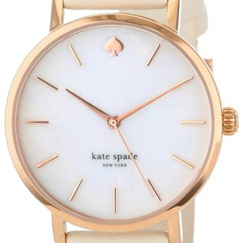 kate spade new york Women's 1YRU0012 Classic Rose Gold Tone Metro Watch with White Leather Band