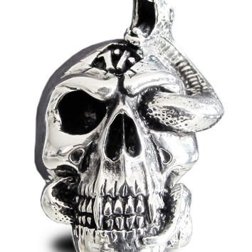 Sterling Silver Infested Skull Ring with Entwined Hissing Snake