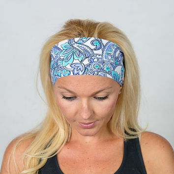 Blue Yoga Headband Moisture Wicking Headband No Slip Headband Running Headband Wide Bohemian Headband Fashion Headband Fitness Headband Blue