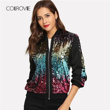 Trendy COLROVIE Casual Zip Up Basic Sequin Jacket Women 2018 Autumn Highstreet Bomber Jacket Coat Women Feminino Coats Outwear Clothes AT_94_13