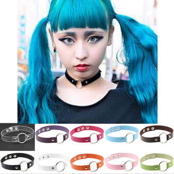Gothic Ring Choker Necklace PU Leather Assorted Colors