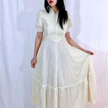 Vintage 70s Beige Cream Cotton Gauze Corset Style Victorian Folk Prairie Country Maxi Dress S