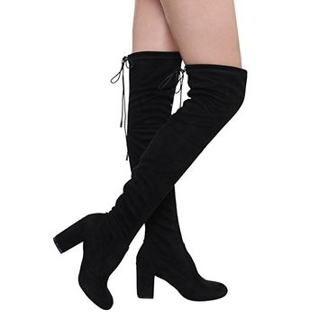 Women's Thigh High Boots Stretchy Over The Knee Chunky Block Heel Boots