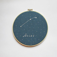 Embroidery  Hoop Art , Zodiac Signs, Aries, Hand painted, Astrology, Constellations