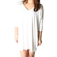 Off White Piko Tunic V-Neck Half Sleeve Dress