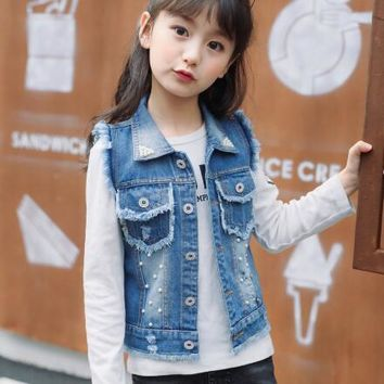 Trendy Girls Vest Denim 3-12Y Children Coat Girls Denim Kids Cowboy Vest Waistcoat Sleeveless Jean Jackets Child Outerwear AT_94_13
