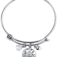 Cinderella Crystal Charm Bracelet in Stainless Steel with Silver-plated Charms - Bracelets - Jewelry & Watches - Macy's