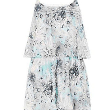 Floral Abstract Printed Layered Romper with Metal Chain Strap