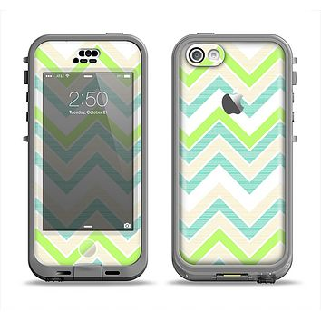 The Vibrant Green Vintage Chevron Pattern Apple iPhone 5c LifeProof Nuud Case Skin Set