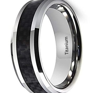CERTIFIED 8mm Men's Titanium Ring Inlaid Black Carbon Fiber, Silver White Beveled