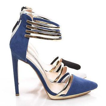 Danielle1 By Liliana, D'Orsay Strappy Metallic Ankle Cuff Stiletto Heel Pumps
