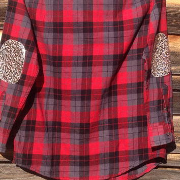 Flannel Shirt Sequin Elbow Patch Embellished Shirt  - CUSTOM Order - Boho Sparkle - reconstructed upcycled altered menswear