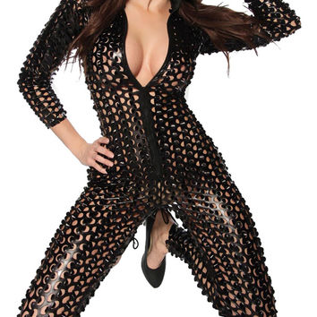 New Thin Stretch Shiny Hole Jumpsuit Bodysuit  Black Silver Gold Clubwear Sexy Women Lady Dancing Dance DS Club Wear 28 10323