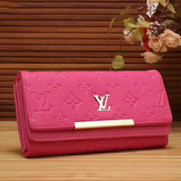 LV  Women Print Flower Leather Tote Handbag Wallet  Purse Bag Rose red G-LLBPFSH