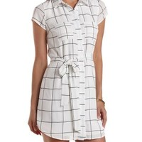 White Combo Windowpane-Checked Chiffon Shirt Dress by Charlotte Russe