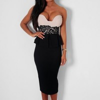 Deceitful Black & Nude Lace Peplum Midi Dress | Pink Boutique