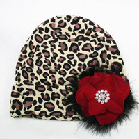 Leopard Cheetah Print Beanie Knit Hat Adorned By A by pilycouture