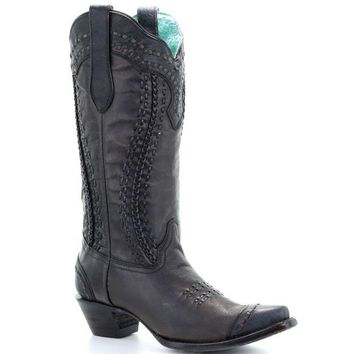 LMFYW3 Corral Black Woven & Braided Boots A3324