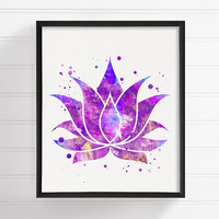 Lotus Art Print, Watercolor Lotus Flower, Lotus Poster, Lotus Painting, Lotus Illustration, Yoga Studio Decor, Zen Decor, Buddha Wall Art